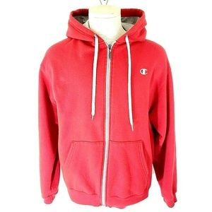 Champion Mens Hoodie Large Red Silver Accents